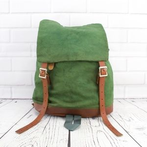 Other - Vintage Green Canvas Leather Ruck Sack Backpack
